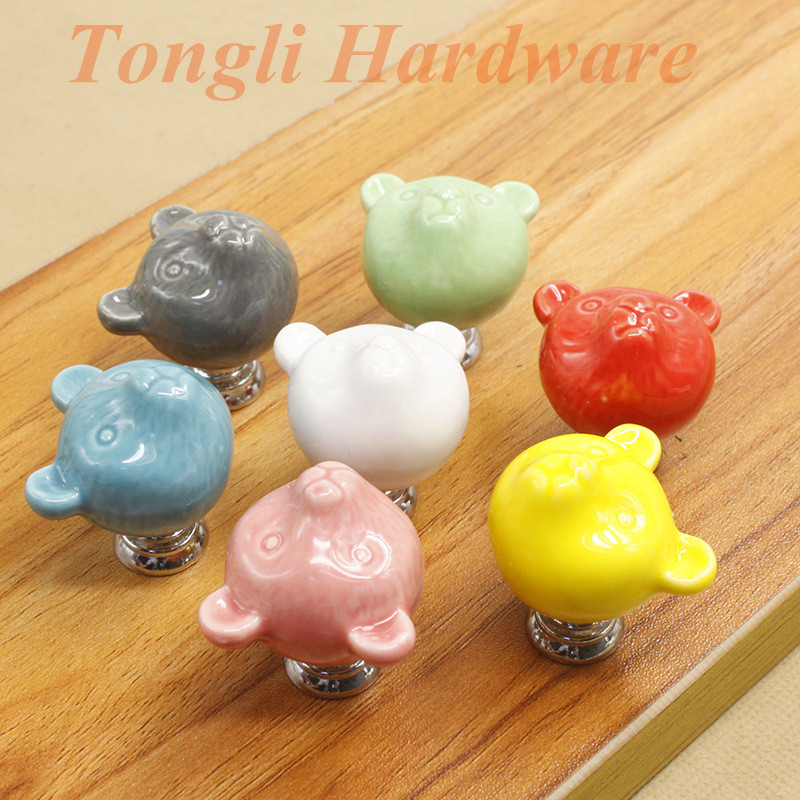 10 pcs/lot white gray pink red green blue yellow cute little bear ceramic cabinet handle drawer pull child's bedroom furniture(China (Mainland))