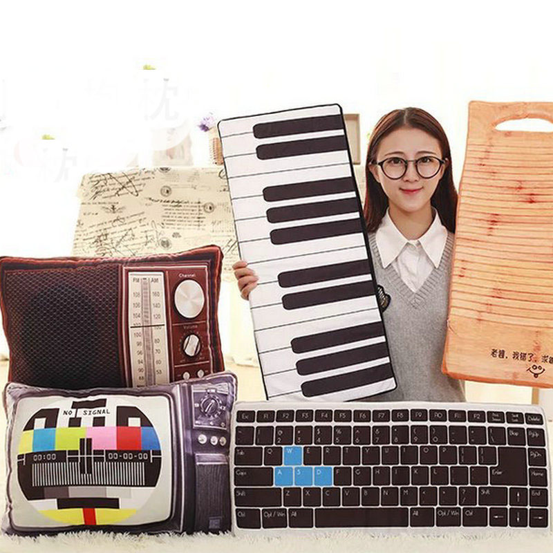 52/64cm Drop Shipping Creative artificial TV/piano Plush Toys Keyboard pillow Cushion boy/girl birthday gift(China (Mainland))