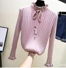 Осенний женский свитер Новый Зимний вязаный свитер с оборками рукав Корея женский пуловер модный вязаный свитер Теплые Топы 1902(China)