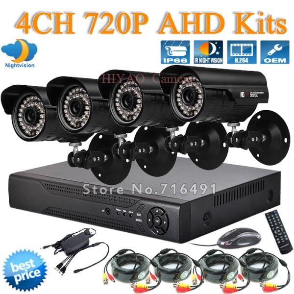 4CH AHD Camera System DVR HDMI 1.0MP IR Weatherproof Outdoor video recorder 720p CCTV Home Security System Surveillance Kits(China (Mainland))
