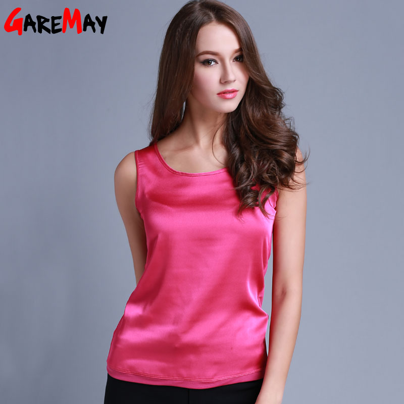 Womens Summer Silk Tank Tops Ladies Blouses Mesh Cute Sleeveless Solid Color O Neck Casual Debardeur T Shirt Vest Tops CanottaОдежда и ак�е��уары<br><br><br>Aliexpress