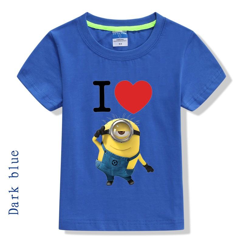 Brand cartoon short sleeve minion t shirt cotton love heart kids boys minions clothes 4 color(China (Mainland))