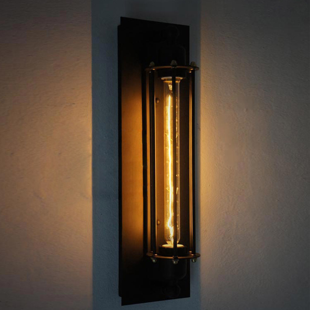 Wall Lights Lampshades : Novelty Test Tube Design Iron Black Sconce E27 Edison Industrial Wall Lamp Handmade Decorative ...