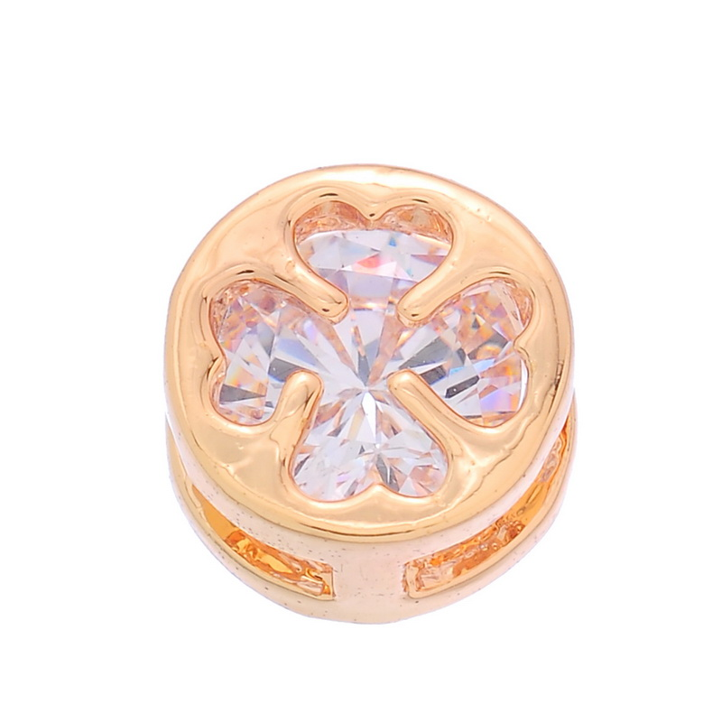 2PCs Resin Rhinestone Round Hollow Clover Design Sewing Supplied Gold Plated(China (Mainland))