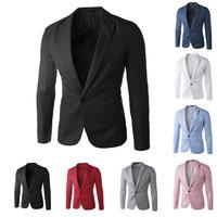 새로운 도착 하나의 버튼 남성 남성 레저 블레이저 2014 한국어 패션 슬림 적합한 캐주얼 재킷 의류 M-XXL의 붉은 해군 블루