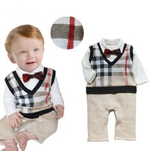 Retail 2015 100%cotton baby boy roupas de bebe Critical gentleman bow long sleeve baby boy clothes