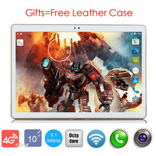 """Free Shipping 2017 Newest Octa Core 10 inch Tablet PC 3G 4G Lte 4GB RAM 64GB ROM Android 5.1 GPS Tablet PC 10""""+Free Leather Case(China (Mainland))"""