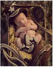 New Pentagram Cowboy Style Newborn Crochet Outfits Baby Hat Newborn Photography Props All For Child Clothing and Accessories