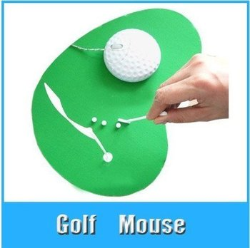 Sakura's EMS Free shipping+Novelty Item Golf ball optical mouse Laptop PC Mouse&Mouse mat set Low price 20pcs/lot