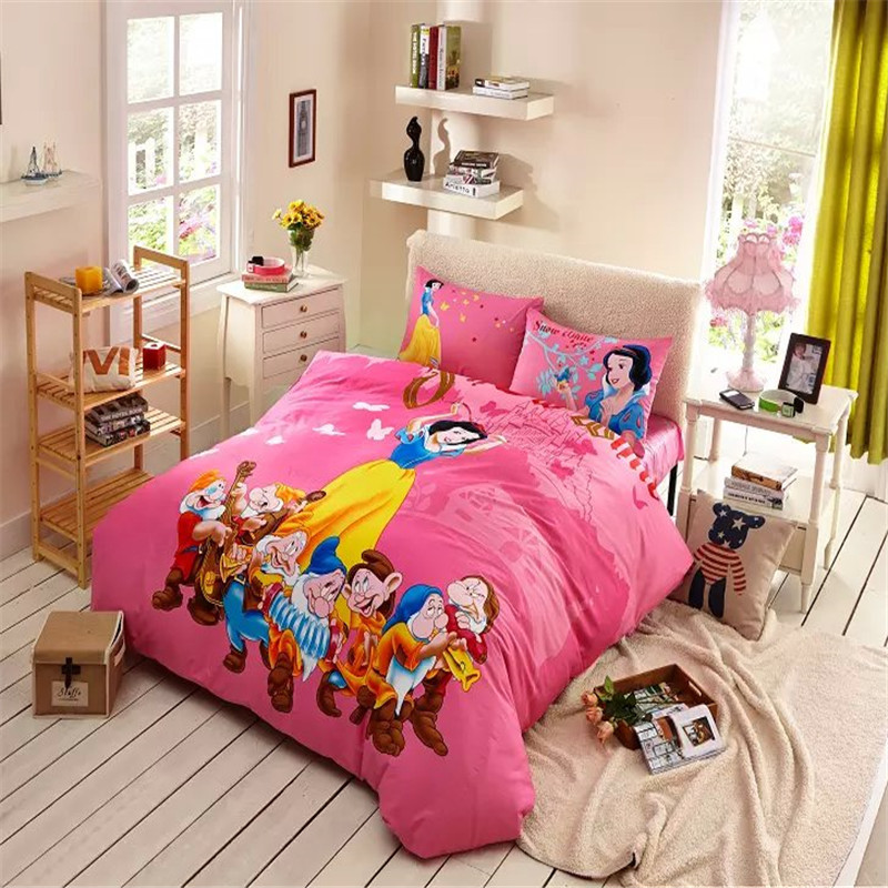 Lovely Pinnk Snow White And The Seven Dwarfs Bedding Cheap Bedding Sets Duvet Covers Cheap Wholesale(China (Mainland))
