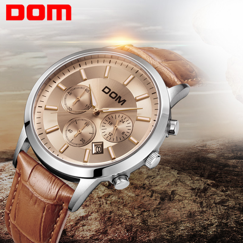 Dom men's watch large dial multifunctional sports waterproof genuine leather strap table watch men's watches(China (Mainland))