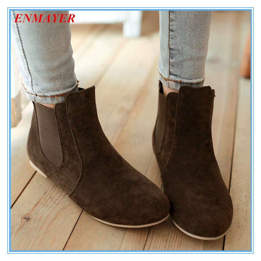 ENMAYER   Supersize 34-43 Flock Nubuck Leather ankle boots  Solid Flat heel  Slip-On fashion boots Round Toe Platforms boots<br><br>Aliexpress