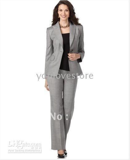 Fashion Women's Clothing Women Business Suit Light Grey Women Suits Custom Made Women Suit 491