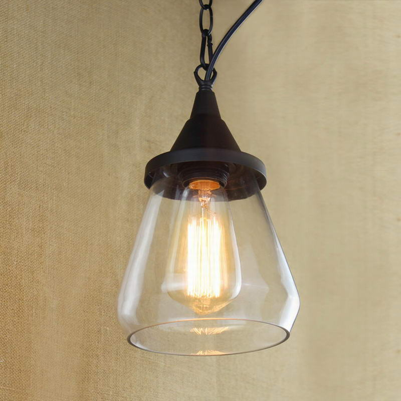Recycled retro Nostalgic Hanging clear glass cup Pendant Lamp with Edison Light bulb|Kitchen Lights and Cabinet Lighting(China (Mainland))