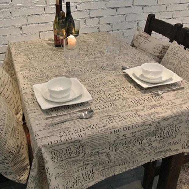 retro letter linen table cloth print european style