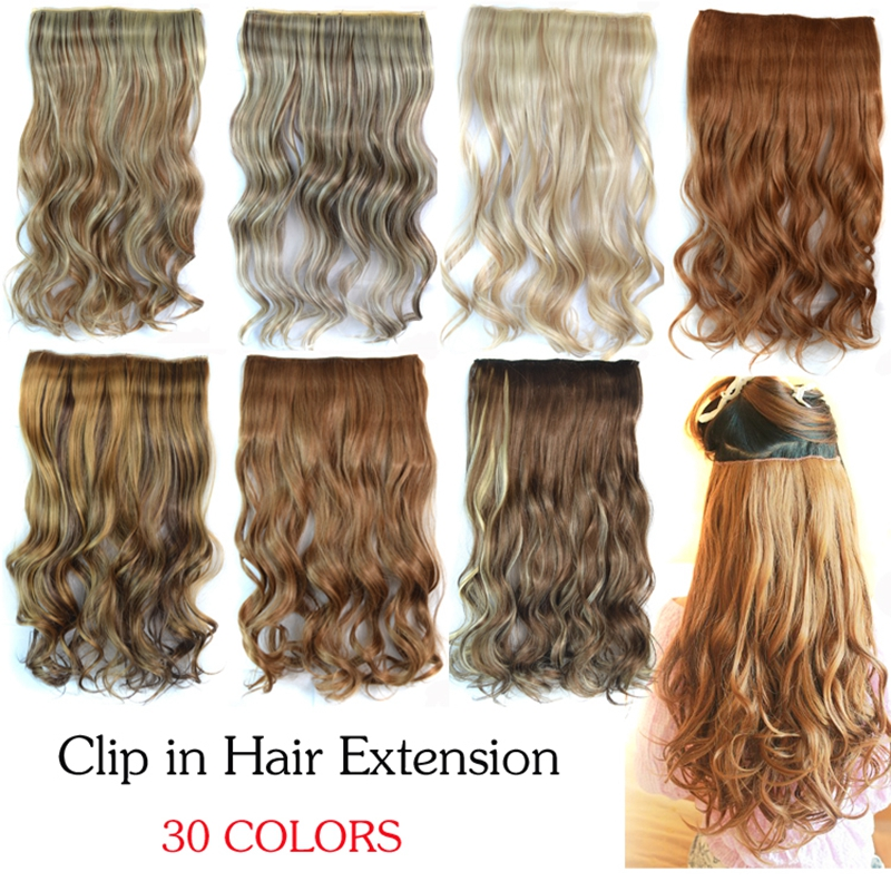 30colors 1PC 120G 55cm Woman Curly Clip-In Hair Extension One Piece Long Wavy Hairpieces factory price - ZM QUEEN store