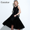 Clocolor Vintage dress black solid Summer Dress A line Dress Sleeveless bow solidexpansion mid calf solid