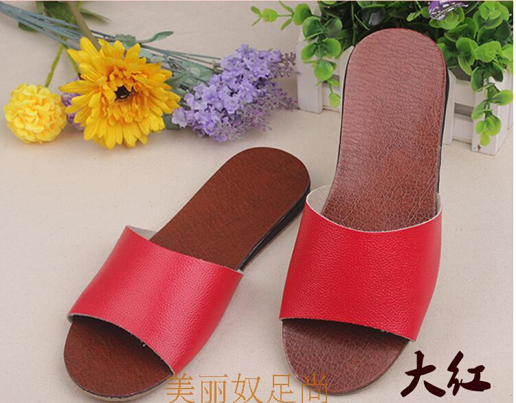 6 Colors 25-29cm Free Shipping Quality Leather Cow Muscle Summer Unisex Lover Slippers Durable Anti Moisture Solid Color(China (Mainland))