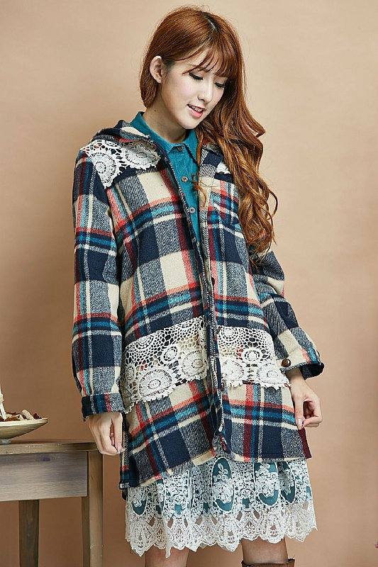 gray coat plaid manteaux femme chaquetones de mujer cheap winter coat autumn cape poncho women dames jassen mori girl vintage