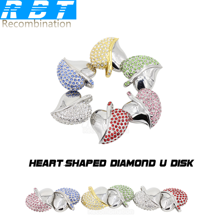 2015 RBT Real Capacity Jewelry Crystal Love Heart 8GB 16GB 32GB Pen Drive Pendrive USB Flash Drive For PC Free Shipping(China (Mainland))