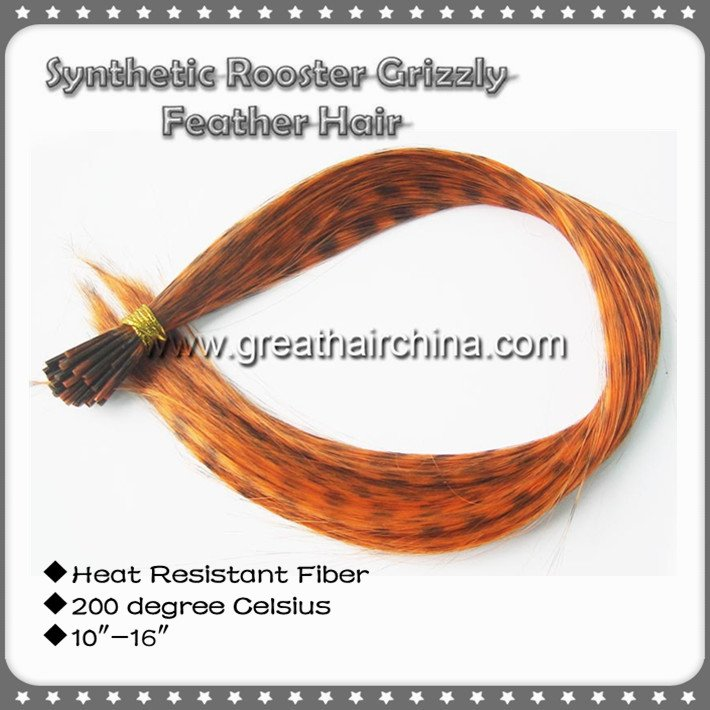 10 Color 10inch-16inch 1000strands Mixed Heat Resistant Fiber Synthetic Rooster Grizzly Hair Extension Free Shipping