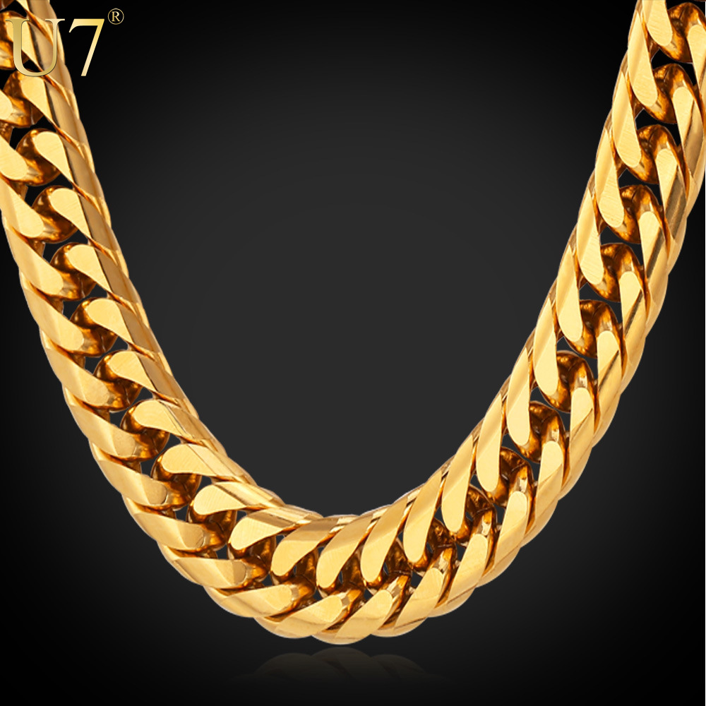 Big Chunky HipHop Gold Chain For Men Jewelry Wholesale 18K Gold Plated 71CM 13MM Thick Stainless Steel Long Necklace N453(China (Mainland))