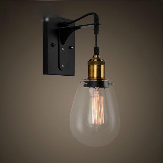 Loft Vintage Industrial American Country Teardrop Glass Edison Wall Sconce Lamp Bathroom Beside ...