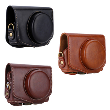 PU Leather Camera Bag Case Protective Pouch with Camera Strap Special for Canon Powershot G7X G7XII Camera Case(China (Mainland))