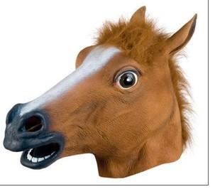 Creepy Horse Mask Head Halloween Costume Theater Prop Novelty Latex Rubber - Judy Wen's store