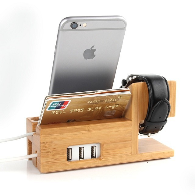 New Wooden Charger Dock for apple watch apple iwatch Wood Stand Mobile Holder for iPhone 6 Plus 5 5s Card Slot