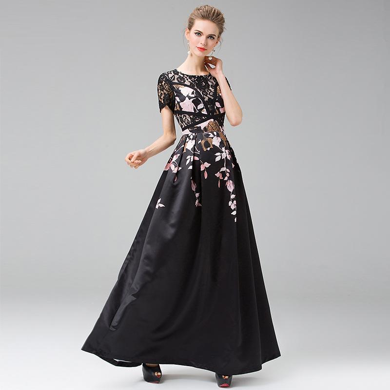 Best Quality Dress European 2016 Spring Summer Women Ruffled Collar Lace Floral Patchwork Long Sleeve Princess Dress SweetheartОдежда и ак�е��уары<br><br><br>Aliexpress