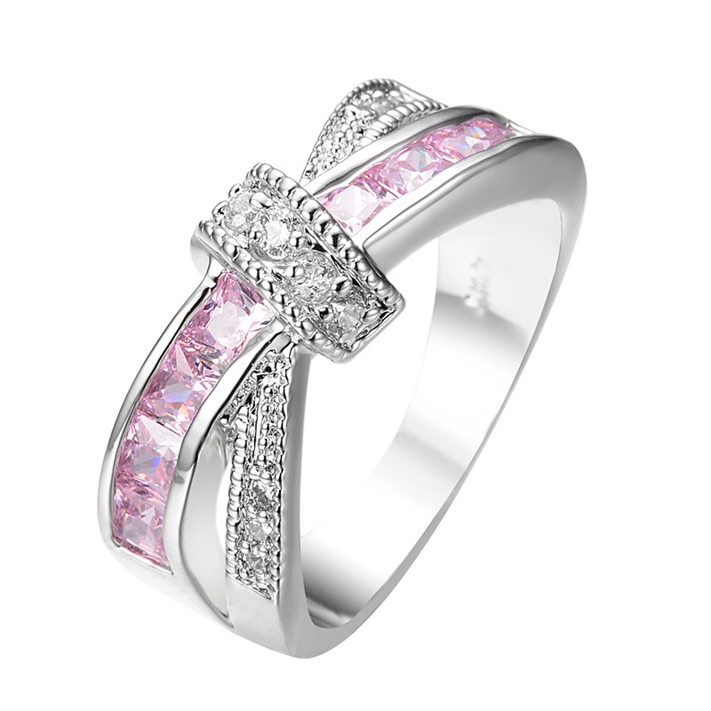 crossed pink sapphire women finger ring white gold filled With pink wedding rings for women