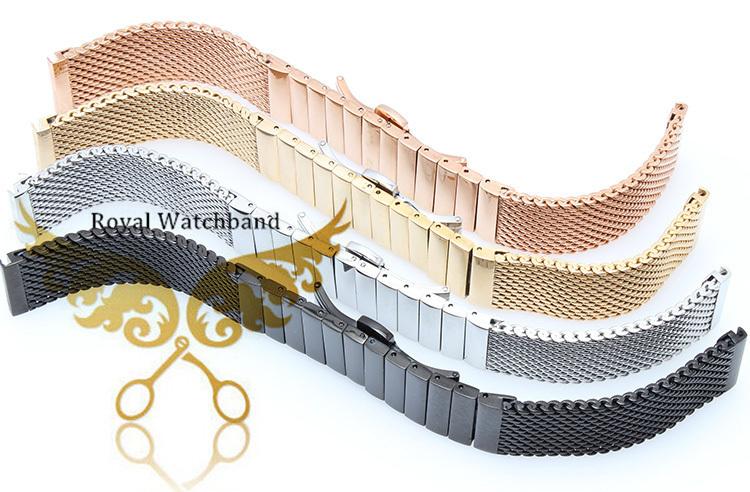 20 мм 22 мм серебро нержавеющая сталь акула браслет часы замена сетки ремень
