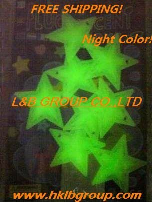 glow in the dark/ luminescent Stars with back sticker Bedroom Baby room Roof decoration+FREE shipping