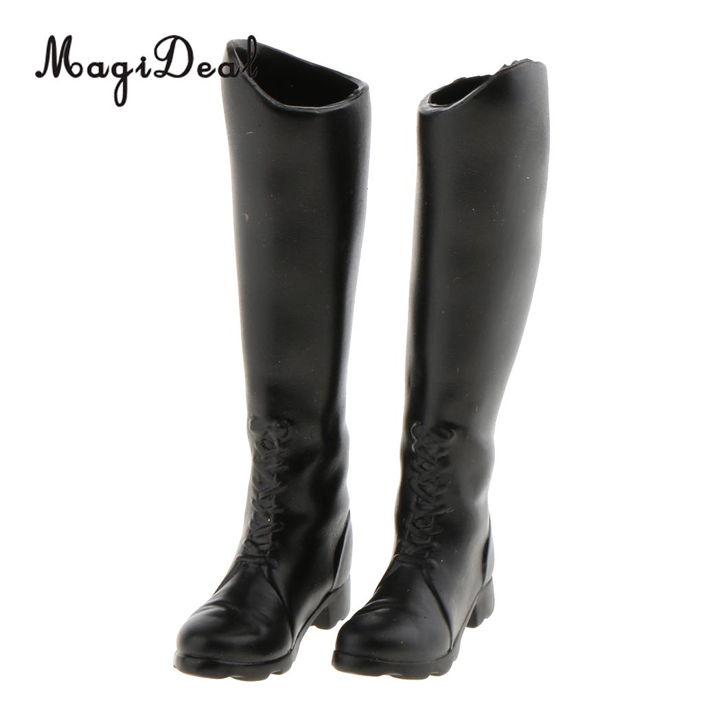 1 Pair Rubber 1/6 Scale Women's Black Long Boots Shoes for 12 Inch Hot Toys Phicen Action Figure Dolls Model Accs