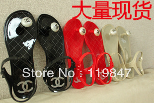Free shipping round mushroom head clip toe flat c letter shoes