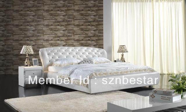 Modern leather double bed with crystal