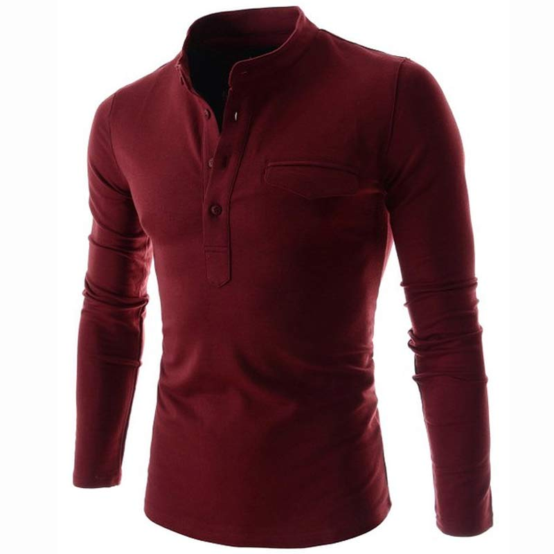 New wine red polo shirt men polo homme 2016 autumn mens for Wine colored mens dress shirts