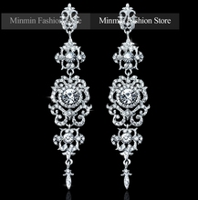 Spring New Arrival Floral Shape Chandelier Austrian Crystal Long Earrings for Women Wedding Bridal Charming Drop Earrings EH182(China (Mainland))