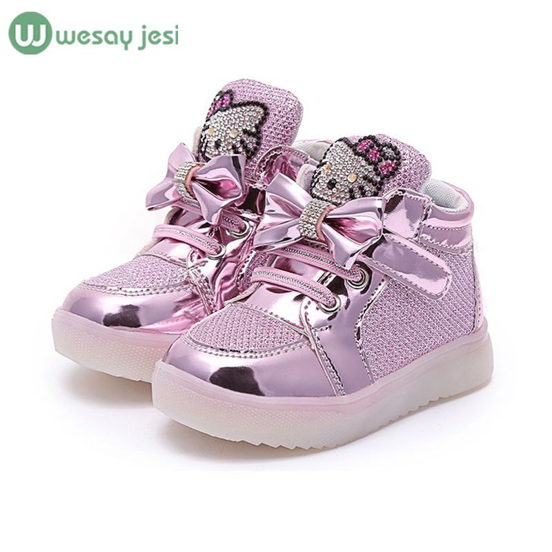Girls shoes baby Fashion Hook Loop led kids light glowing sneakers little princess children - WESAY JESI W Co. Ltd. Store store