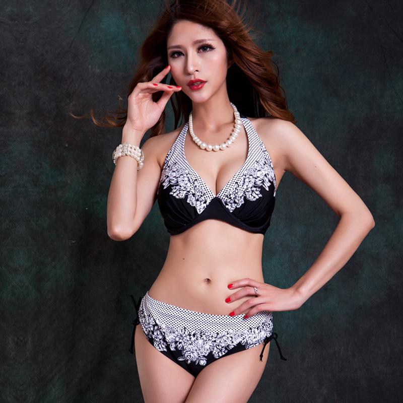 Extra Large Size Middle Waist Printed Bikini Swimwear Big Bra Soft Cup Tunic Bikinis Set Swimsuit Ba