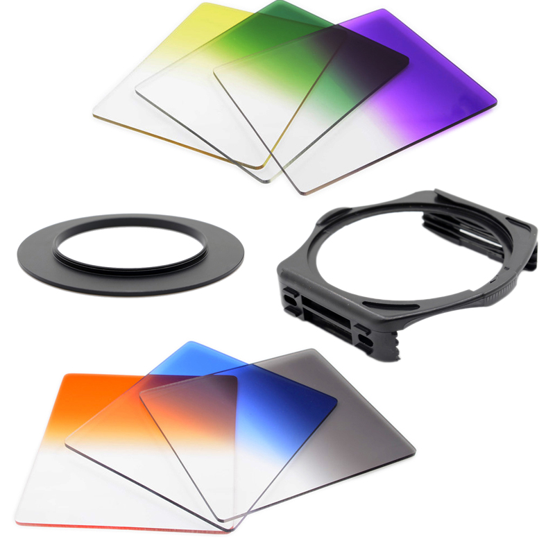KnightX Gradual Grey Blue Orange Filter Kit For Cokin P + Filter Holder Adapter for Canon Nikon D3100 D3200 D5100 FOR sony a57(China (Mainland))
