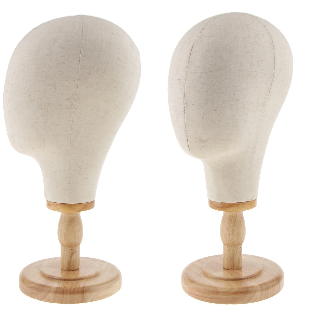 2 Pieces 21inch Mannequin Head Wig Making Head Cork Canvas Head Wig Hat Glasses Display With Mount Hole and Detachable Stand