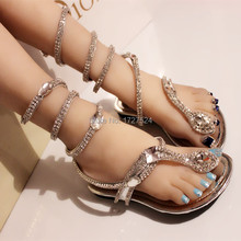 Discount 2016 Crystal Gladatior Sandals Women Design Snake Ankle Strap Sliver Women Flats Flip Flops Summer Shoes Woman Sandalia(China (Mainland))