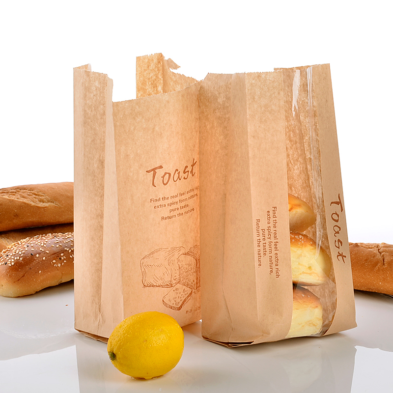 29.5*12*8.5cm Creative Kraft Toast Sandwich Bag Eco Friendly Takeaway Disposable Baking Dessert Biscuit Packing Bag 100pcs SK744(China (Mainland))