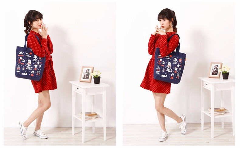Durable Canvas Tote Bag Preppy Style Printing Women Fashion Casual Shoulder Bag Simple Designer Ladies Cheap Hand Bag