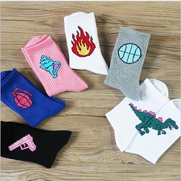 1 Pair Cotton Patterned Design Flame Bomb Baseball Cool Socks HipHop Sport Sock