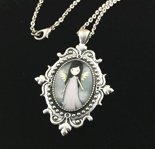 2pcs Handmade antique silver cabochon base setting photo glass pendant necklace Charm Necklace AC201-6(China (Mainland))