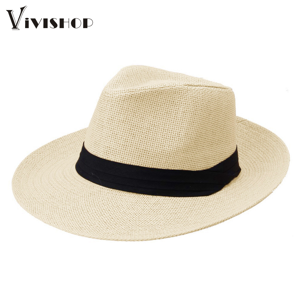 Fashion Sun Hats Panama Straw Hat Contrast Color Ribbon Pinched Men Women Crown Rolled Trim Summer Hat women's hats(China (Mainland))