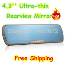 720P 4.3inch TFT LCD Car DVR Camera Rearview Dash Camera Mirror Video Recorder Motion Detect with 120 Degree Angle(China (Mainland))